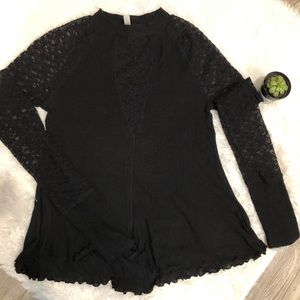 Intimately Free People Black Mock Neck Lace Top